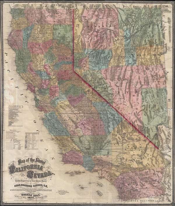 Map of the States of California and Nevada  Carefully Compiled from     Map of the States of California and Nevada  Carefully Compiled from the  Latest Authentic Sources