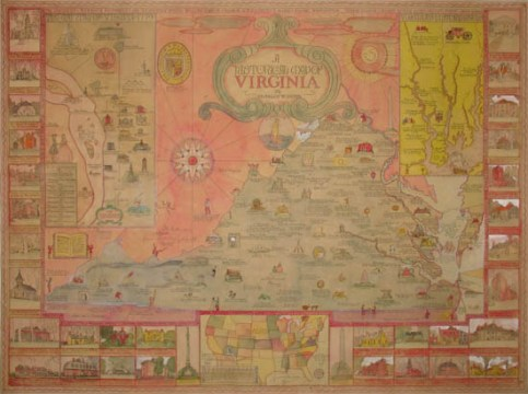George Glazer Gallery   Antique Maps   A Historical Map of Virginia     Historical Map of Virginia