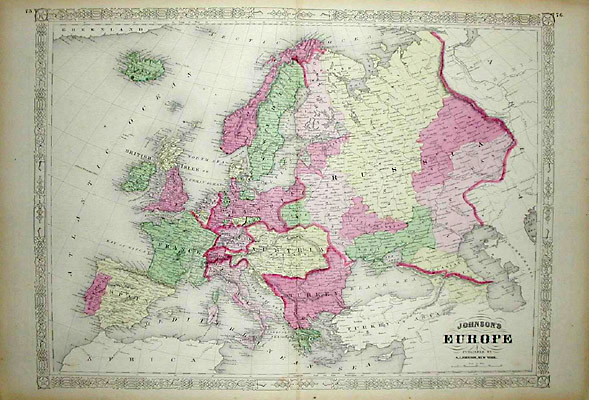 Map  Europe  A J  Johnson  Philadelphia  3rd Quarter 19th Century     Map  Europe