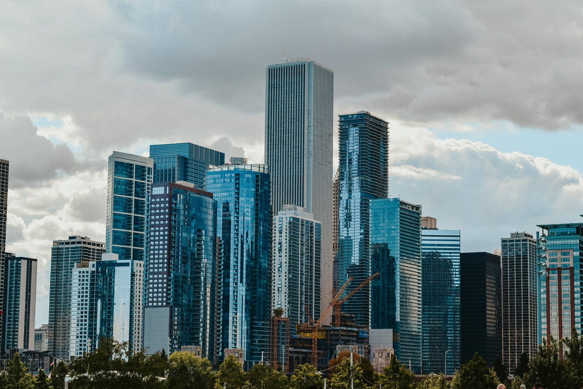 modern district with skyscrapers in cloudy day