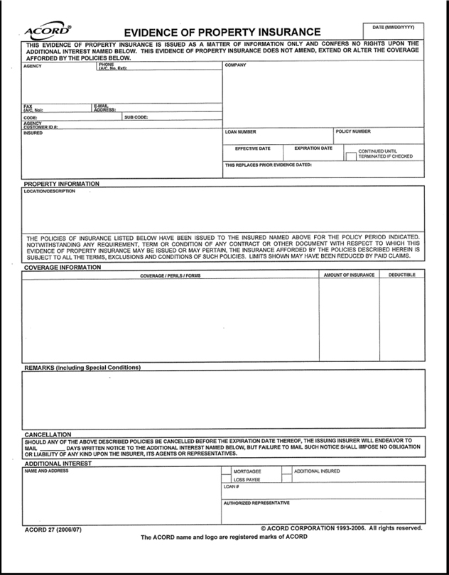 125 Fillable Acord Form