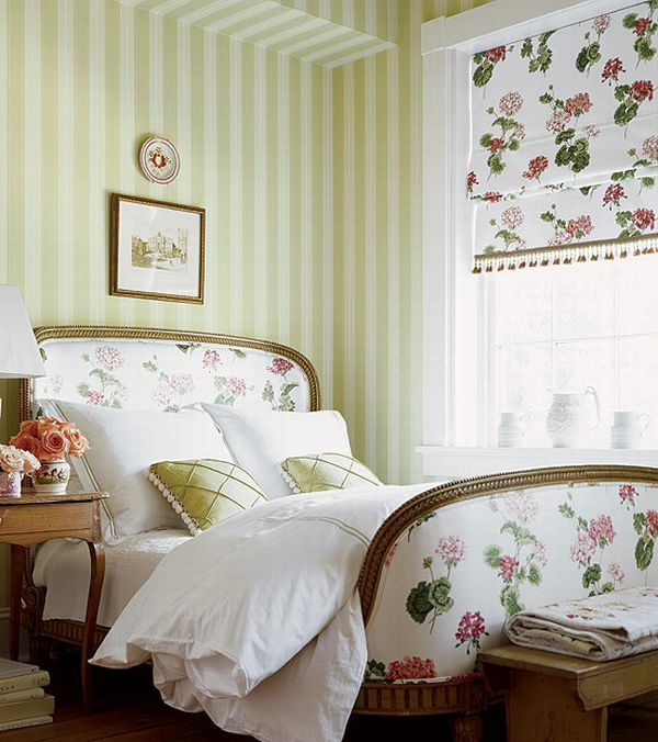 Design Interior French Country Striped Green White Floral