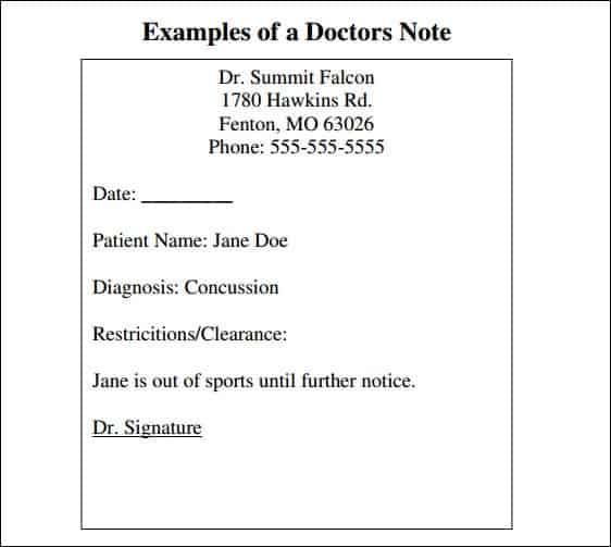 Fake Kaiser Doctors Note Template