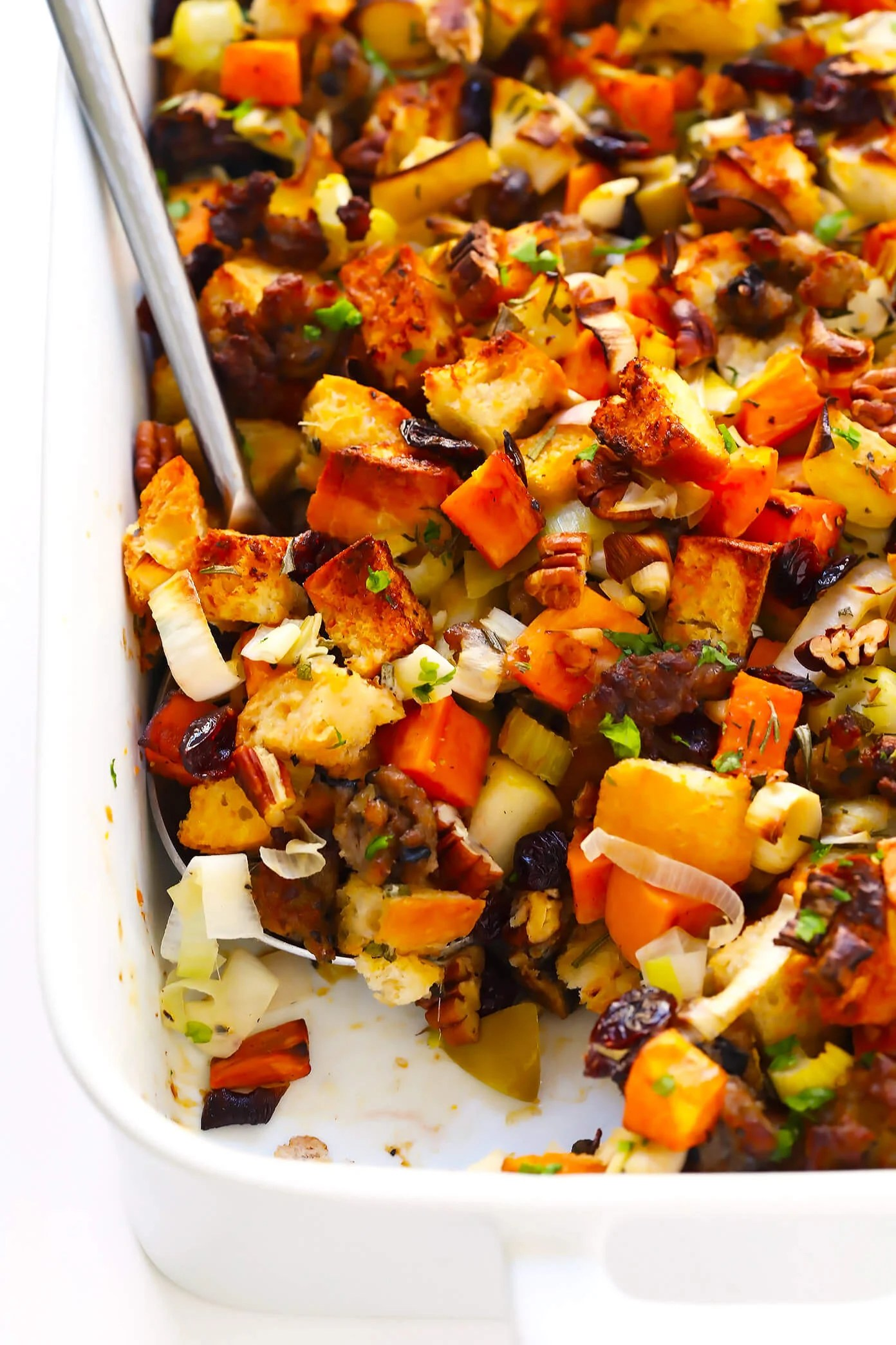 The BEST Sausage and Sweet Potato Thanksgiving Stuffing    Gimme     LOVE this Sausage and Sweet Potato Thanksgiving stuffing recipe  It s  filled with lots of crusty