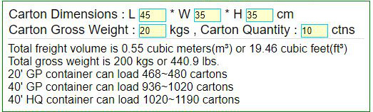 Cbm Calculator Volume Of Shipping Cartons And Container
