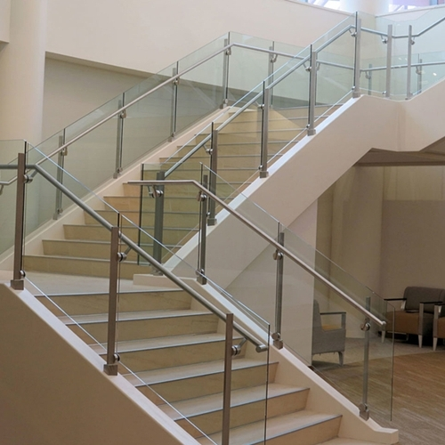 Stair Handrail Glass Glass Stair Balustrade Cost Curved Glass | Tempered Glass Stair Railing | Made Glass | Wood | Step | Indoor | Glass Design