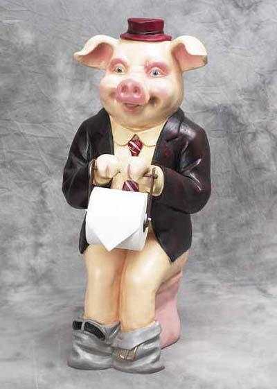 Polyresin Piggy Toilet Paper Holder Globe Imports