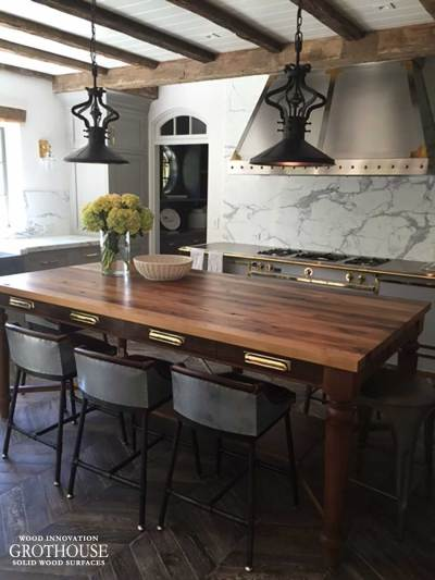 Antique Reclaimed Chestnut Wood Table in East Hampton, NY