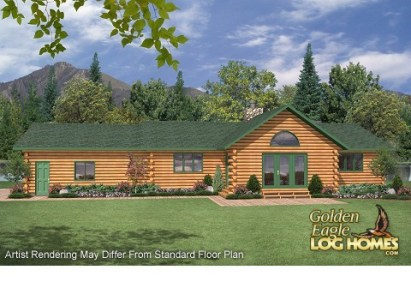 Golden Eagle Log and Timber Homes  Floor Plan Details  Golden Ranch     Golden Ranch 1560AR Floor Plan   Rendering