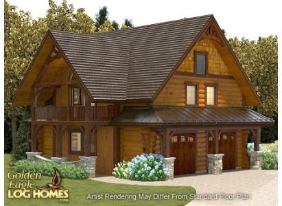 Golden Eagle Log and Timber Homes  Floor Plan Details  Guest House     Guest House 826AL Reversed Floor Plan   Rendering