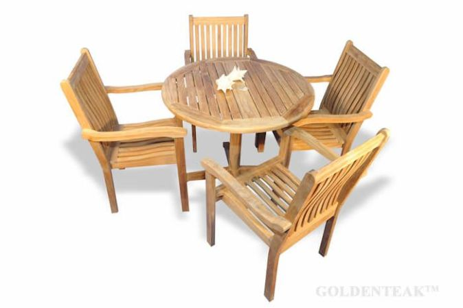 Teak Patio Dining Set Round Table and 4 stacking chairs   Teak Sets Teak Dining Set for 4  Round Table and 4 stacking chairs