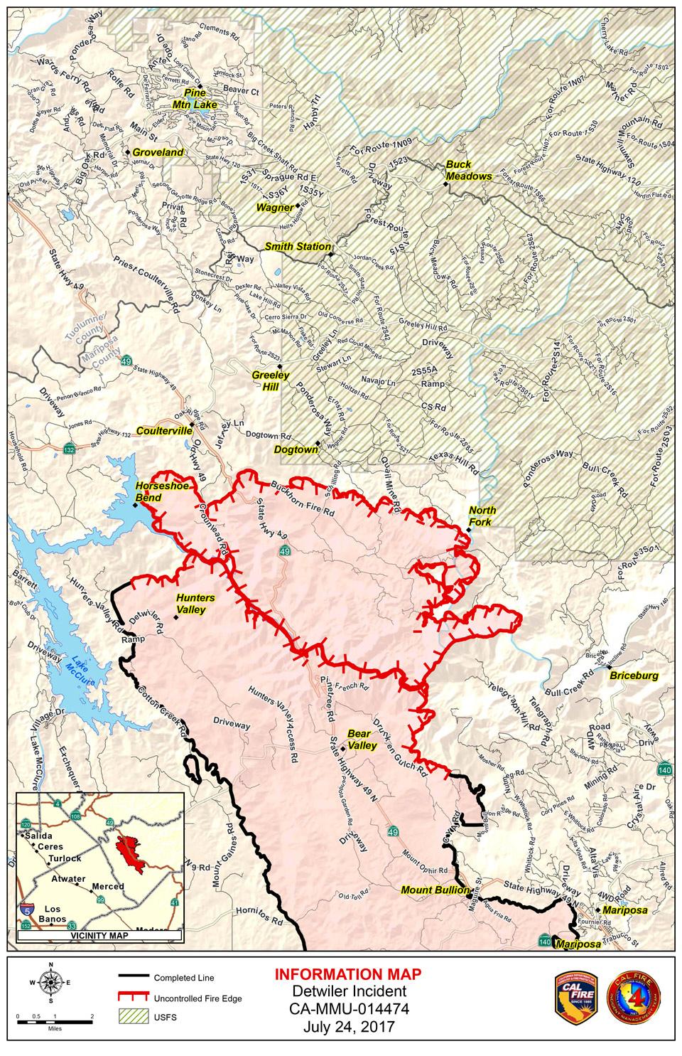 Map Detwiler Fire Mariposa