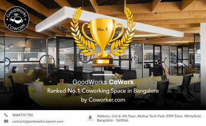 GoodWorks CoWork ranked as the No.1 coworking space in Bangalore