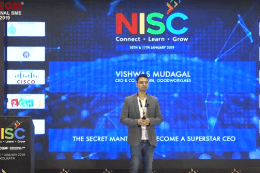 "Vishwas Mudagal talks on ""The Secret Mantras to become a Superstar CEO"" at Nasscom event"