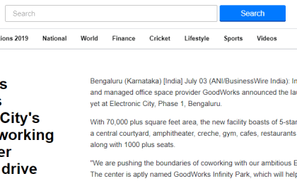 In News on Yahoo: GoodWorks launches Electronic City's largest coworking space