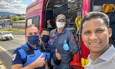 Pastor Cristiano Silva, guardas municipais e bombeiro.
