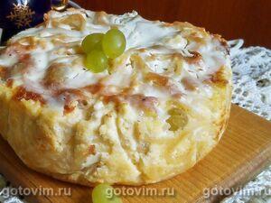 পাস্তা এবং আঙ্গুর সঙ্গে casserole curd casserole