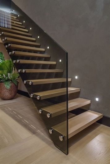 Staircases Lighting With Led Strips How To Illuminate A Staircase   Wooden Stairs With Lights   Light Gray   Motion Sensor   Side   Glass   Backyard Wood