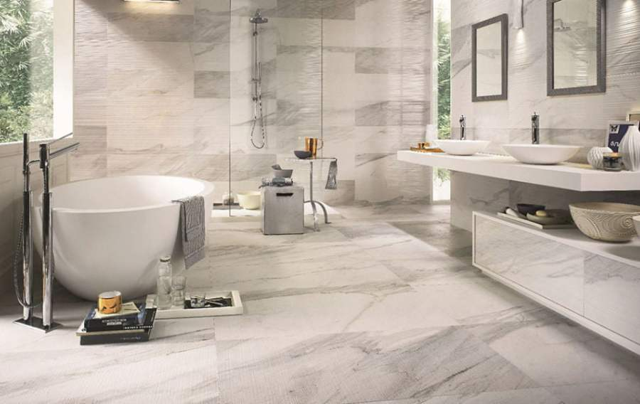 Ceramic porcelain Tile vs  Vinyl Tile Plank  Which Is Best  Italgraniti White Experience Bathroom
