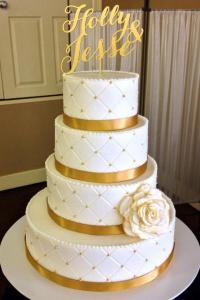 1  Beautiful White   Gold Wedding Cake   Wedding Cakes Gallery Beautiful White   Gold Wedding Cake