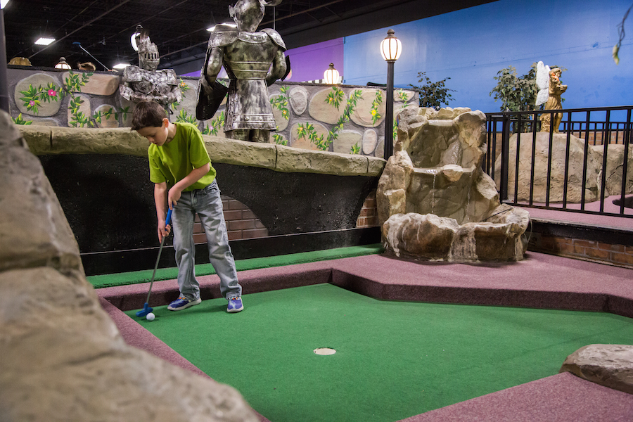 Indoor Mini Golf   Miniature Golf Courses   Grand Slam Family Fun     After claiming heir to the mini golf throne  putt putt on over to the  Bumper Cars or hit our Indoor Batting Cages