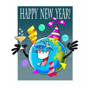 Happy New Year Earth Cartoon Cartoon Clipart Images And