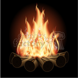 Vector Campfire On Black Cartoon Clipart Images And Clip