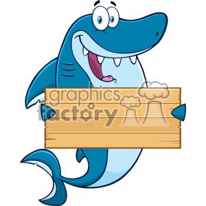 Royalty Free Clipart Happy Blue Shark Cartoon Holding A
