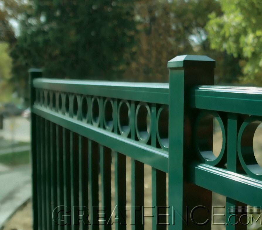 Residential Aluminum Fences Greatfences Com | Iron X Handrail Picket
