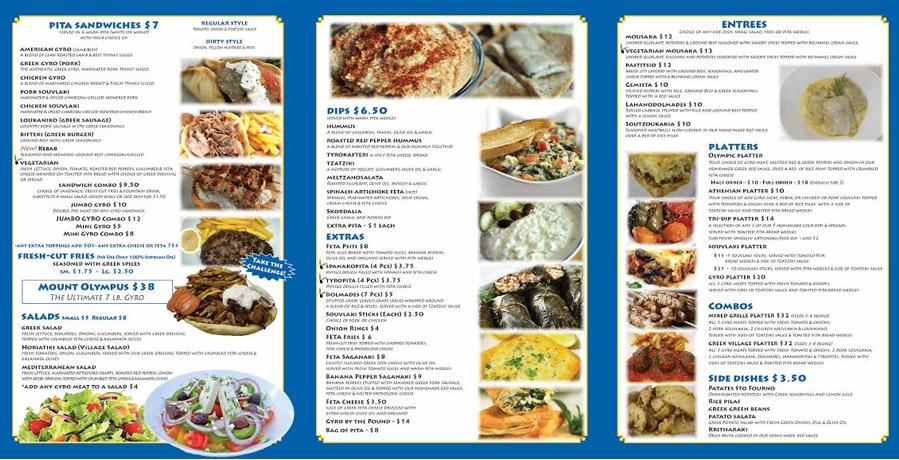 Greek Food Menu Items