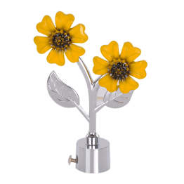 Yellow Flower Curtain Rod Finials - Yellow Flower Curtain Bracket - inspires original thought