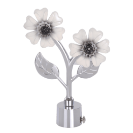 off White Flower Curtain Rod Finials in India
