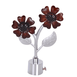 Brown Flower Zinc Curtain Finial - Curtain Rod End Cap for Drapery