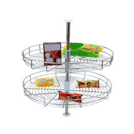Multipurpose round rack for vegetables and fruits in kitchen storage.