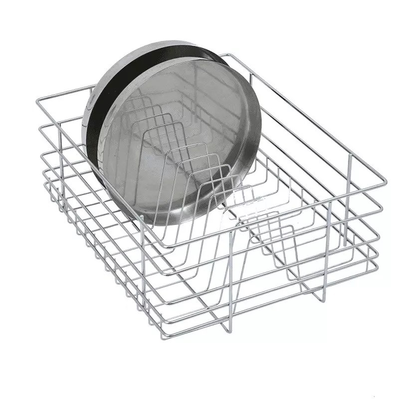 Stainless Steel Thali Rack, Sleek Thali Basket, Stainless Steel Thali Basket, SS Thali Basket, SS Kitchen Basket made by 6 mm wire high quality - The Green Interio