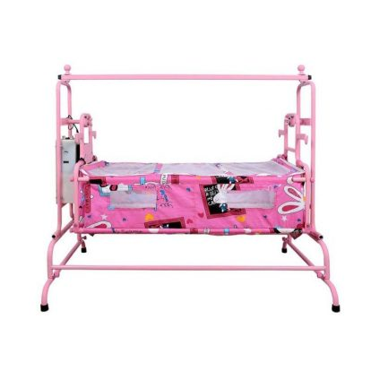 pink Butterfly Automatic Baby Cradle Super - Ghodiya Automatic Deluxe Cradle - The Green Interio