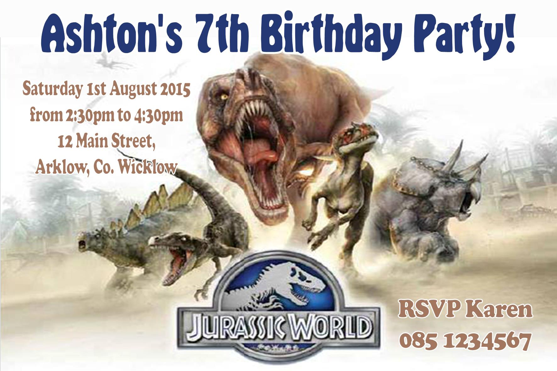 Jurassic World Birthday Invitations Printable
