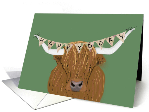Scottish Highland Cow Happy Bday For Cowboy Card 1436604