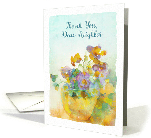 Thank You Dear Neighbor Pansies Watercolor Painting