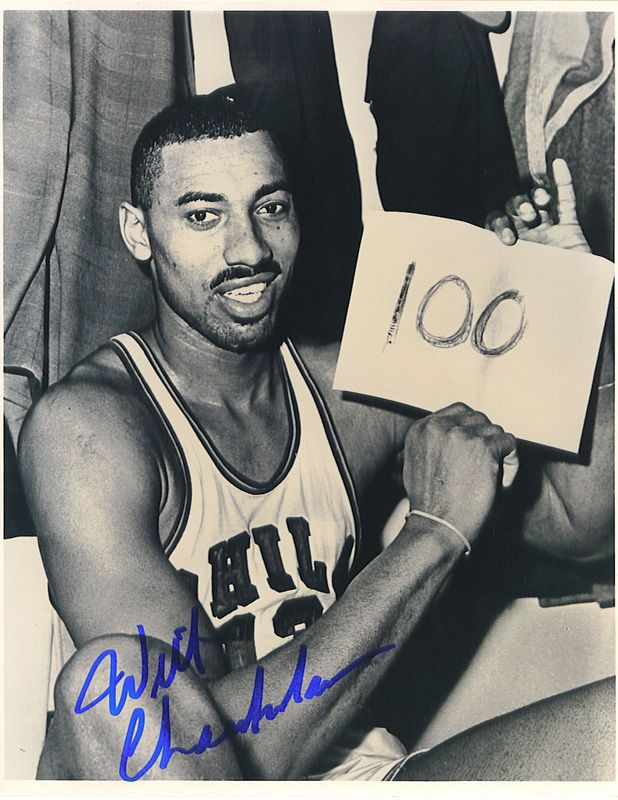 Lot Detail - Wilt Chamberlain Autographed 100 Point Game ...