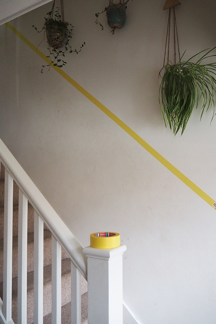 Will A Half Painted Stairway Wall Beat D*Rty Hand Marks And Scuffs | Wall Painting Designs For Staircase | Side Wall | Upstairs | Art Staircase | Boy | Creative