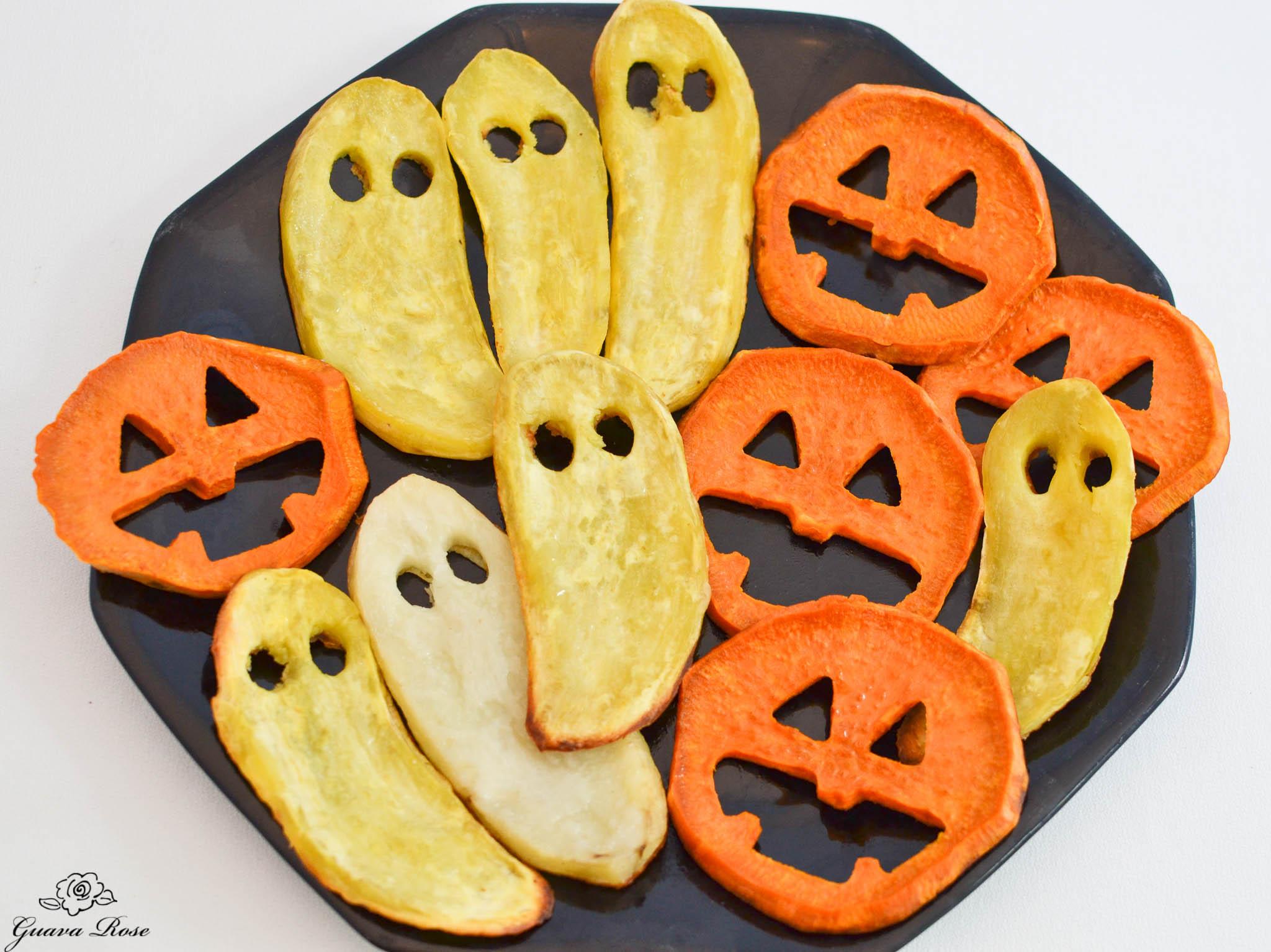 Roasted Sweet Potato Jack O Lantern Faces And Ghosts
