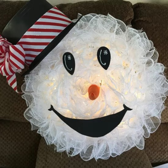 Snowman Mesh Wreath Diy Directions