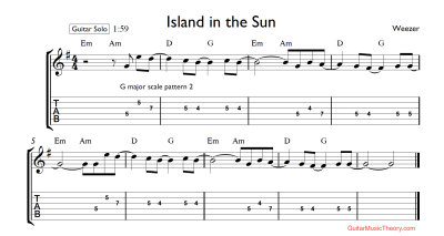 Island in the Sun Guitar Solo Tabs | Guitar Music Theory ...