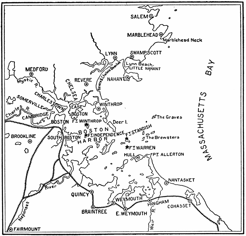 Image unavailable map illustrating the enemy attack on boston and neighboring cities