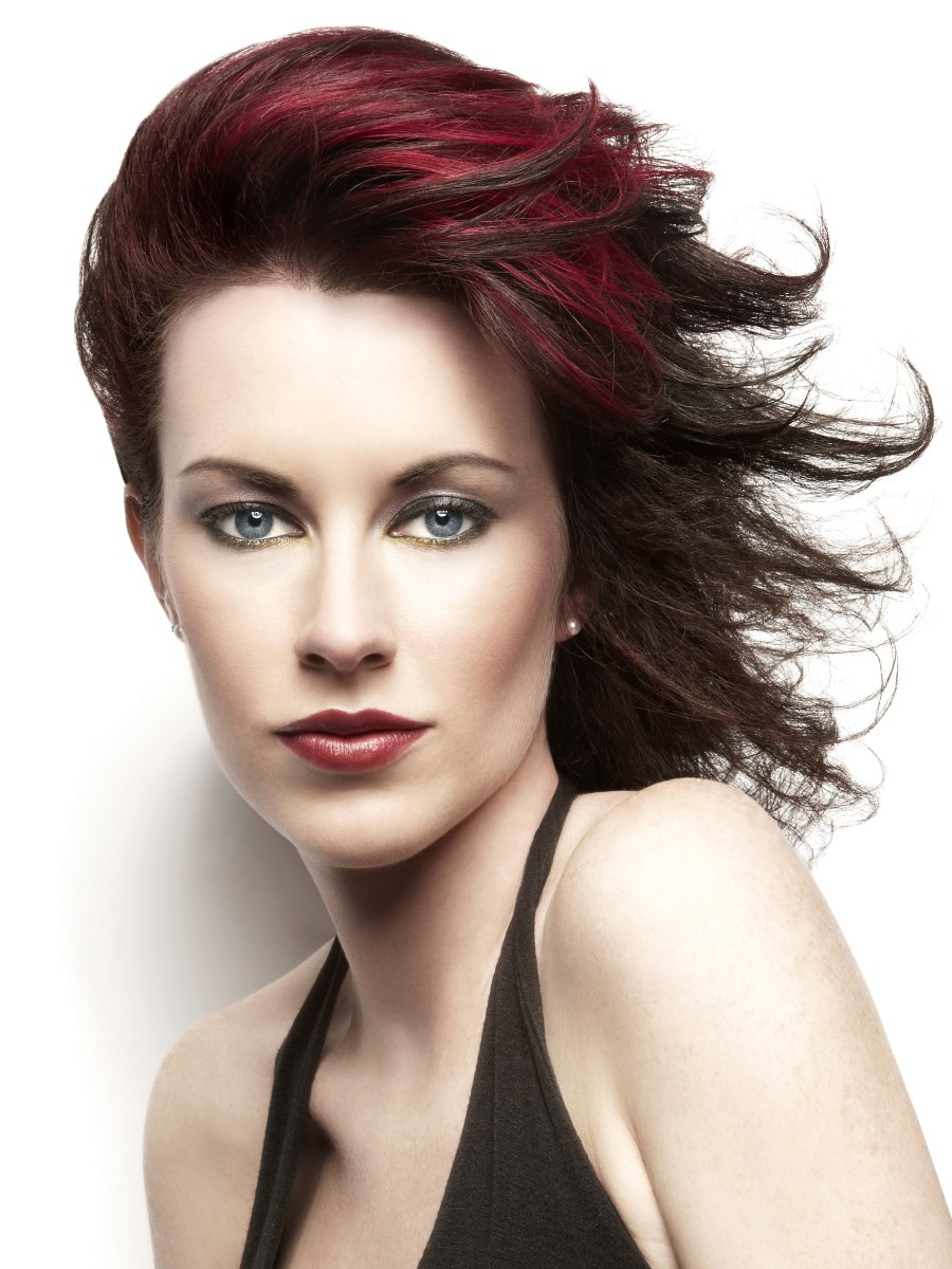 Elegant And Windswept Haircut For Dark Cherry Red Hair