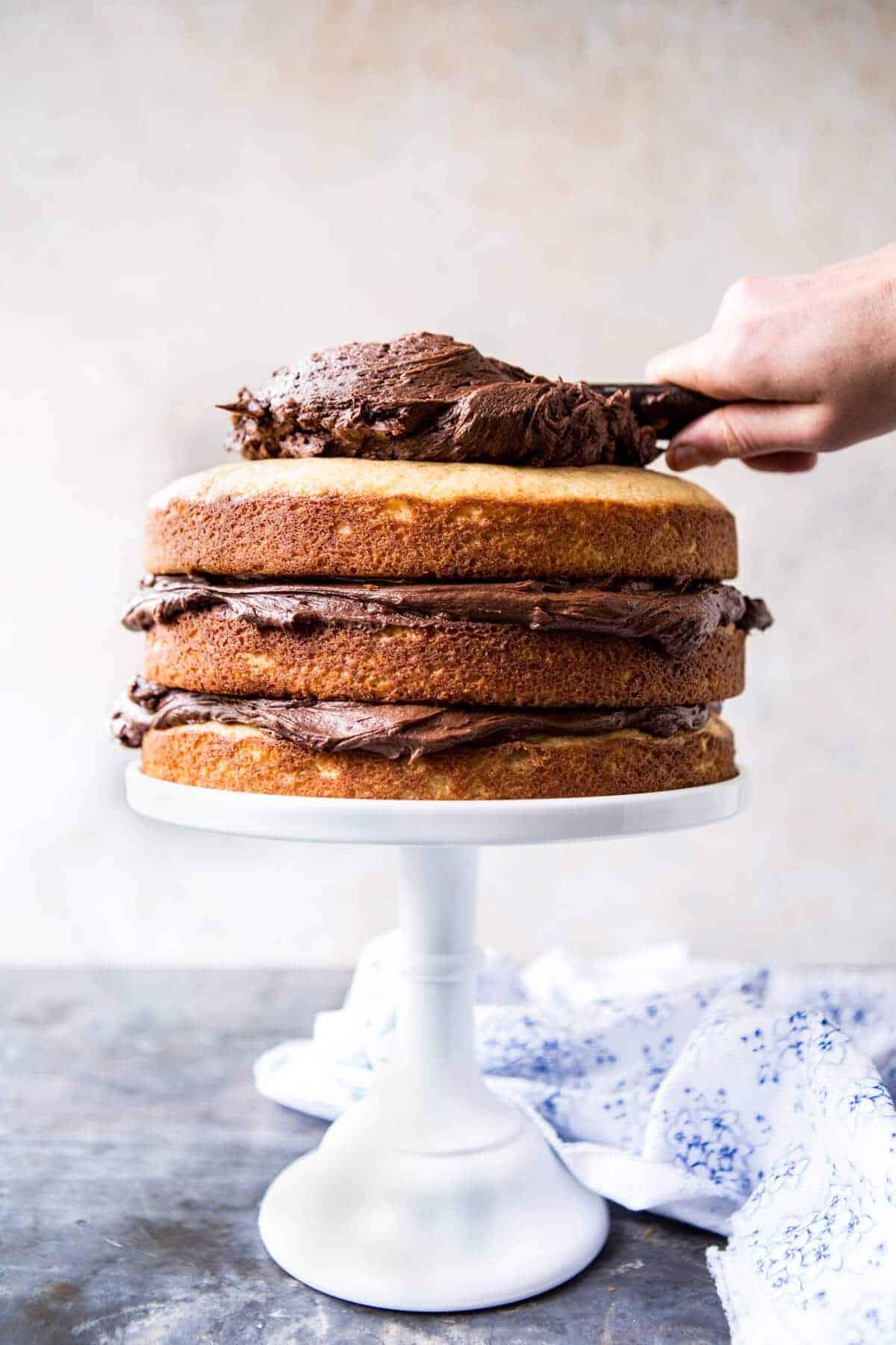 Vanilla Birthday Cake With Whipped Chocolate Buttercream