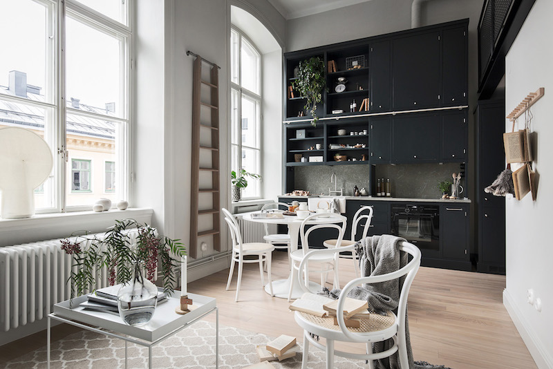 Small Apartment In Black And White With A Loft Bedroom
