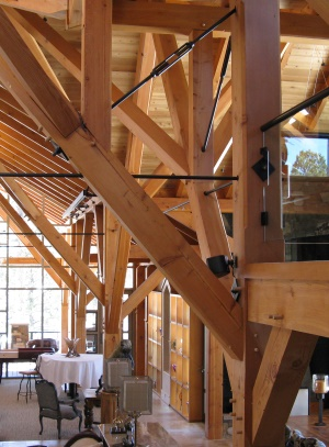 Post and Beam Homes   Post and Beam Construction   Hamill Creek     Post and beam construction Westcliffe timbers w  metal accents