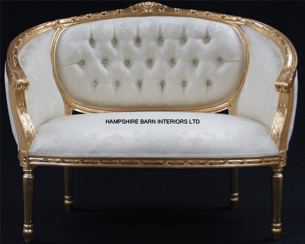 A Double Ended Gold Ivory French Louis Ornate Chaise